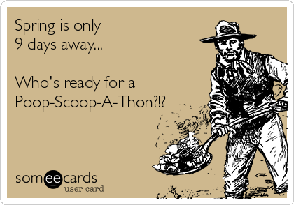 Spring is only 9 days away...  Who's ready for a Poop-Scoop-A-Thon?!?