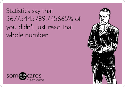 Statistics say that 36775445789.745665% of you didn't just read that whole number.