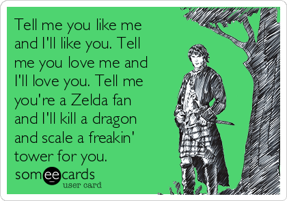 Tell me you like me and I'll like you. Tell me you love me and I'll love you. Tell me you're a Zelda fan and I'll kill a dragon and scale a freakin' tower for you.