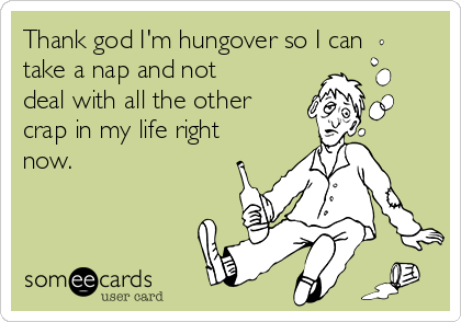 Thank god I'm hungover so I can take a nap and not deal with all the other crap in my life right now.