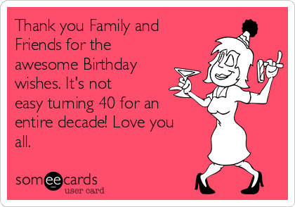 Thank you family and friends for the awesome birthday wishes its thank you family and friends for the awesome birthday wishes its not easy turning 40 m4hsunfo