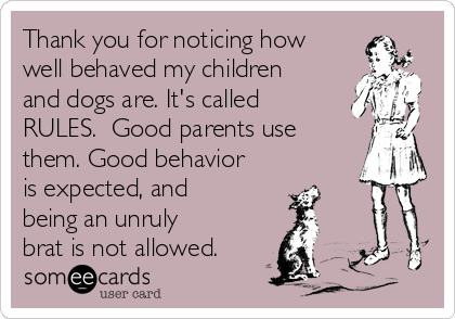 Thank you for noticing how well behaved my children and dogs are. It's called RULES.  Good parents use them. Good behavior is expected, and being an unruly brat is not allowed.
