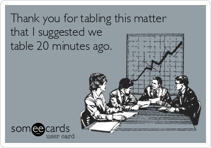 Thank you for tabling this matter that I suggested we table 20 minutes ago.