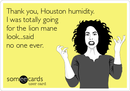 Thank you, Houston humidity.  I was totally going for the lion mane look...said  no one ever.