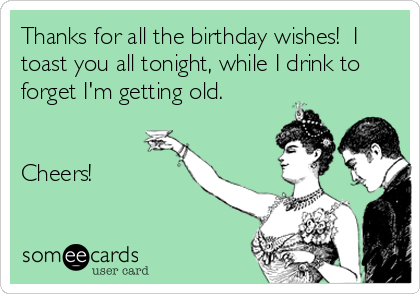 Thanks for all the birthday wishes!  I toast you all tonight, while I drink to forget I'm getting old.   Cheers!