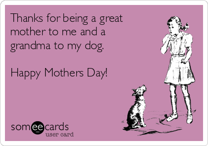 Thanks for being a great mother to me and a grandma to my dog.  Happy Mothers Day!