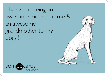 Thanks for being an awesome mother to me & an awesome grandmother to my dogs!!