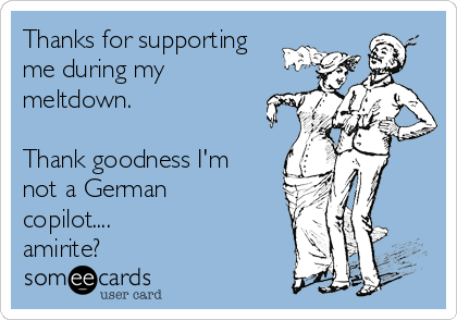 Thanks for supporting me during my meltdown.  Thank goodness I'm not a German copilot.... amirite?