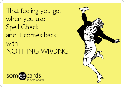 That feeling you get when you use Spell Check and it comes back with  NOTHING WRONG!