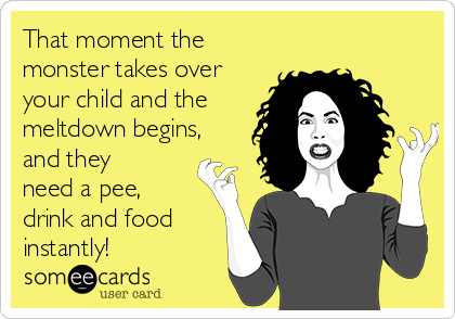 That moment the monster takes over your child and the meltdown begins, and they need a pee, drink and food instantly!