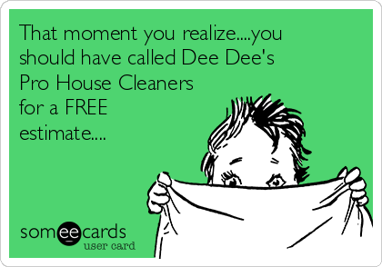 That moment you realize....you should have called Dee Dee's Pro House Cleaners for a FREE estimate....
