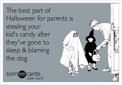 The best part of Halloween for parents is stealing your kid's candy after  they've gone to sleep & blaming the dog.