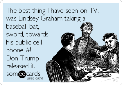 The best thing I have seen on TV, was Lindsey Graham taking a baseball bat, sword, towards his public cell phone #! Don Trump released it.