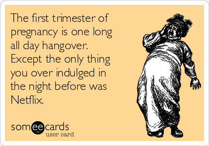 The first trimester of pregnancy is one long all day hangover. Except the only thing you over indulged in the night before was Netflix.
