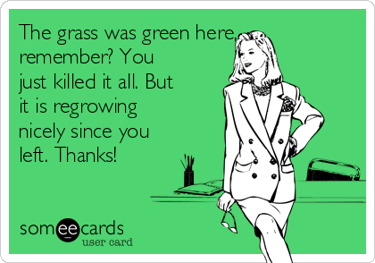 The grass was green here, remember? You just killed it all. But it is regrowing nicely since you left. Thanks!