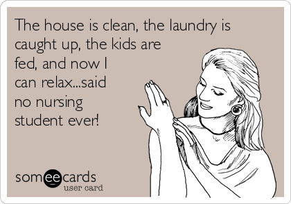 The house is clean, the laundry is caught up, the kids are fed, and now I can relax...said no nursing student ever!