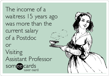 The income of a waitress 15 years ago was more than the current salary of a Postdoc or  Visiting Assistant Professor