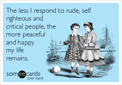 The less I respond to rude, self righteous and critical people, the more peaceful and happy my life remains.