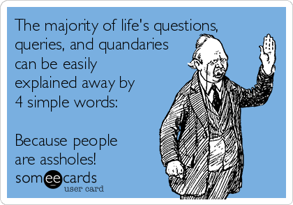 The majority of life's questions, queries, and quandaries can be easily explained away by 4 simple words:  Because people are assholes!