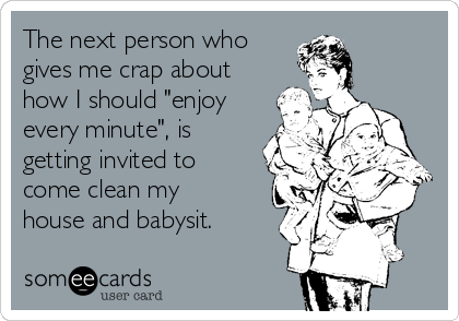 """The next person who  gives me crap about how I should """"enjoy every minute"""", is getting invited to come clean my house and babysit."""