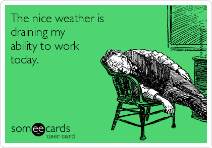 The nice weather is draining my ability to work today.