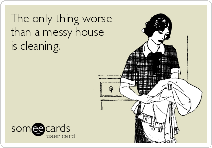 The only thing worse than a messy house is cleaning.