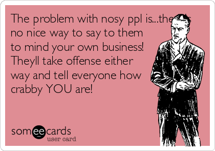The problem with nosy ppl is...there's no nice way to say to them to mind your own business! Theyll take offense either way and tell everyone how crabby YOU are!