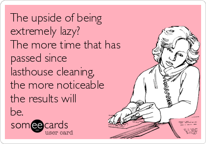 The upside of being extremely lazy?  The more time that has passed since lasthouse cleaning, the more noticeable the results will be.