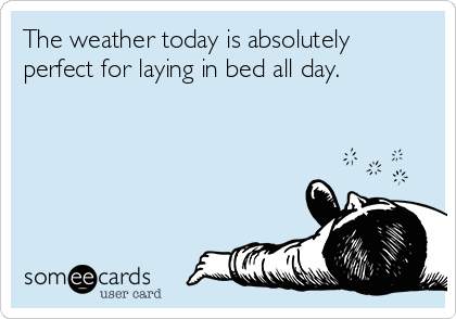 The weather today is absolutely perfect for laying in bed all day.
