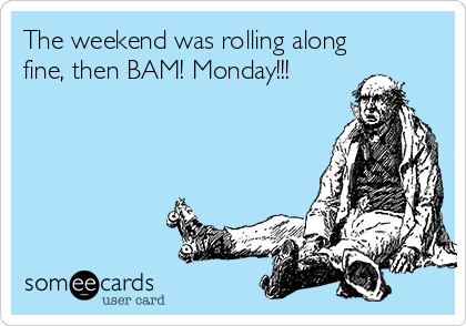 The weekend was rolling along fine, then BAM! Monday!!!