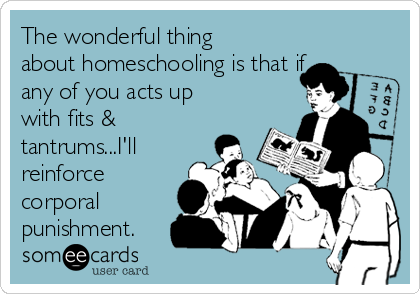 The wonderful thing about homeschooling is that if any of you acts up with fits & tantrums...I'll reinforce corporal punishment.