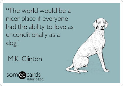 """""""The world would be a nicer place if everyone had the ability to love as unconditionally as a dog.""""  ―M.K. Clinton"""