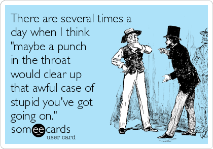 """There are several times a day when I think """"maybe a punch in the throat would clear up that awful case of stupid you've got going on."""""""