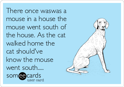There once waswas a mouse in a house the mouse went south of the house. As the cat walked home the cat should've know the mouse went south.....