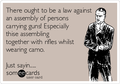 There ought to be a law against an assembly of persons carrying guns! Especially thise assembling together with rifles whilst wearing camo.  Just sayin.....