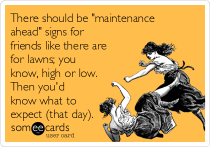 "There should be ""maintenance ahead"" signs for friends like there are for lawns; you know, high or low.  Then you'd know what to expect (that day)."