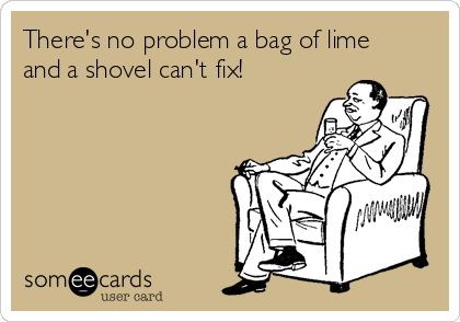 There's no problem a bag of lime and a shovel can't fix!