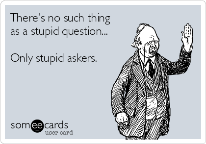 There's no such thing as a stupid question...  Only stupid askers.