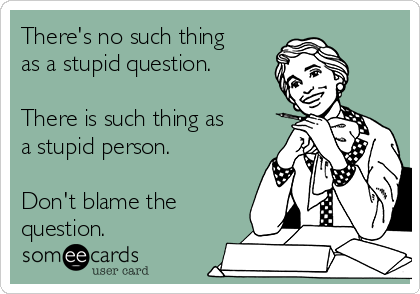 There's no such thing as a stupid question.   There is such thing as a stupid person.   Don't blame the question.