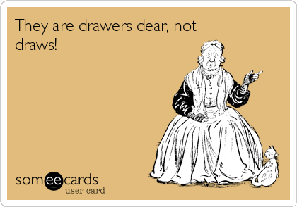 They are drawers dear, not draws!