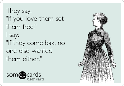 "They say: ""If you love them set them free."" I say: ""If they come bak, no one else wanted them either."""