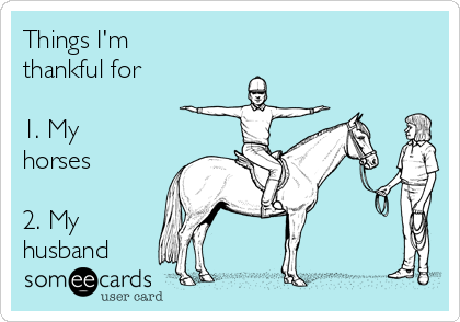 Things I'm thankful for  1. My horses  2. My husband