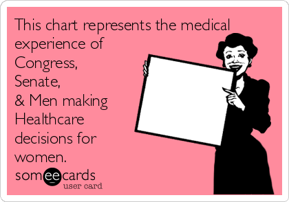 This chart represents the medical experience of Congress, Senate, & Men making Healthcare decisions for women.