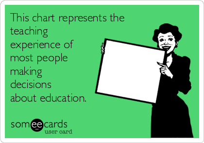 This chart represents the teaching experience of most people making decisions about education.