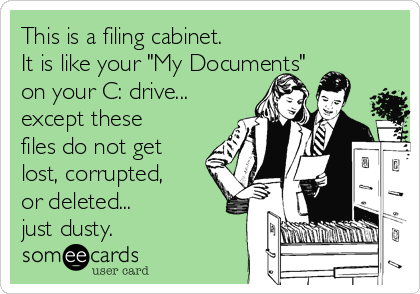 "This is a filing cabinet.  It is like your ""My Documents"" on your C: drive... except these files do not get lost, corrupted, or deleted...  just dusty."