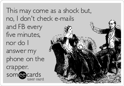 This may come as a shock but, no, I don't check e-mails and FB every five minutes, nor do I answer my phone on the crapper.