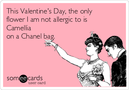 This Valentine's Day, the only flower I am not allergic to is Camellia on a Chanel bag.