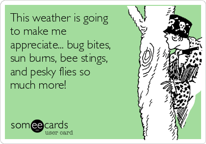 This weather is going to make me appreciate... bug bites, sun burns, bee stings, and pesky flies so much more!