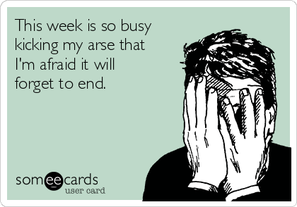 This week is so busy kicking my arse that I'm afraid it will forget to end.