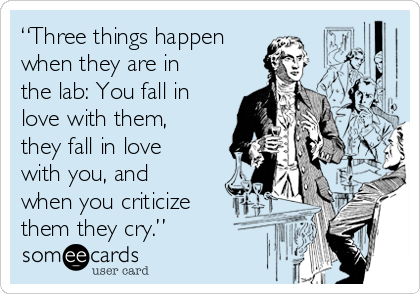 """""""Three things happen when they are in the lab: You fall in love with them, they fall in love with you, and when you criticize them they cry."""""""